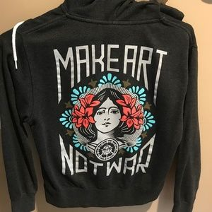 Obey Make Art Not War Women's Small Zip Up Hoodie
